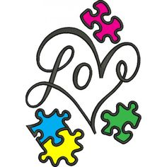 Love Heart Autism Awareness Puzzle Applique Machine Embroidery Digitized Design Pattern