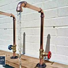 Copper Pipe Swivel Mixer Taps Counter Top Bowl Rustic / | Etsy Copper Pipe Taps, Copper Faucet, Brass Tap, Copper Tubing, Bathroom Taps, Kitchen Taps, Sink Faucets, Bath Taps, Bathrooms