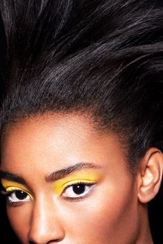 """The New (Awesome) Way To Wear Neons #refinery29  http://www.refinery29.com/neon-makeup#slide10  The issue with a full wash is that it can make your eyes appear sickly, Paré says. To combat this, she applied a white liner to the lower waterline. """"It will open the eye and make it appear whiter,"""" she says."""