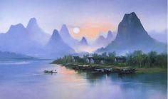 Китайский художник Hong Leung. Красивый пейзаж маслом второй