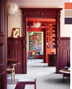 Dit appartement in Oslo is één en al kleur- Elle Nederland Burgundy Walls, Burgundy Room, Burgundy Paint, Colour Architecture, Bedroom Red, Piece A Vivre, Interior Decorating, Interior Design, Color Interior