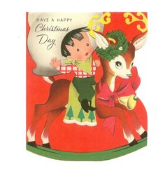 Juvenile card by American Greetings. Little Cowboy Riding Holiday Decorated Rocking Reindeer. In wonderful display condition - original vintage envelope is included. Xmas Greeting Cards, Vintage Greeting Cards, Vintage Christmas Cards, Retro Christmas, Vintage Holiday, Christmas Deer, Christmas Past, Christmas Greetings, Christmas Crafts
