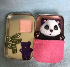 Itty Bitty Maties - panda bear - pink bed set in tin by IttyBittyMaties on Etsy https://www.etsy.com/listing/232149051/itty-bitty-maties-panda-bear-pink-bed