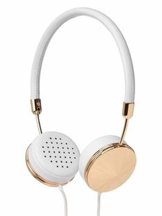 'Layla' jewelry inspired, hand crafted white leather with yellow gold detailing over the ear headphones. Ron Herman Frends