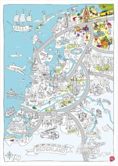 Color, play and discover the Netherlands with this delightful children's map! Creative Teaching, Creative Activities, Fun Activities, Netherlands Map, Pictorial Maps, Dutch Artists, Summer School, Colouring Pages, Primary School