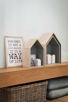 Got these wooden house shelves in grey and neon pink! Diy Interior, Interior Styling, Interior Decorating, House Shelves, Shabby Home, Box Houses, Mini Houses, Home And Deco, House In The Woods