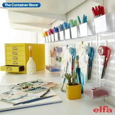 Create an organized hobby space as unique and crafty as you are! Contact us today for a free custom Elfa design! (Shown: Elfa Classic in White) Room Shelves, Wardrobe Rack, Shelving, Organize, Projects To Try, House Design, Organization, Crafty, Space