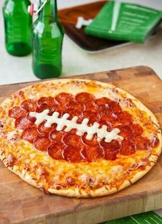 pizza with pepperoni shaped football for super bowl party