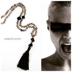 Beautiful Labradorite and Onyx Necklace #hippiechicjewelry #bohostyle