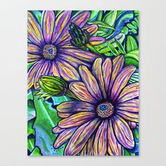 Purple Daisies Stretched Canvas by Morgan Ralston - $85.00