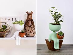 In white and mint green, these fun ceramic planters are handmade, and with the ability to pot two plants, these cute little guys will fit in with any plant display.