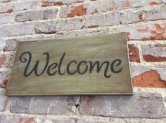 Welcome Sign/Wooden Sign/Distressed Sign w/Dark Finish/Hand Painted Sign/Cottage Chic/Beach Decor/Lake House Decor by NAWLINSGIRLDESIGNS on Etsy