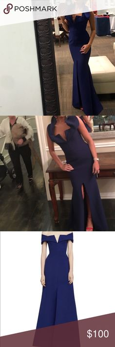 Long dress Navy blue long mermaid dress  with slit up the front and a shaw that can be worn down or up like a  collar BCBG Dresses Prom