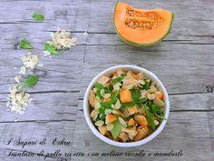 Insalata di pollo ricetta con melone rucola e mandorle Ciabatta, Cooking Time, Finger Foods, Cantaloupe, Yogurt, Salsa, Food And Drink, Fruit, Drinks