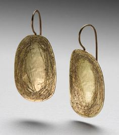 Peg Fetter: Scribble Earrings, Scribble earrings in 18k gold and sterling silver with 14k ear wires.