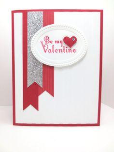 Stampin Up Delightful Dozen, Handmade Masculine Valentine, Valentines Day Card, Stripes Embossing Folder, Designer Frames Embossing Folder by StampinINK