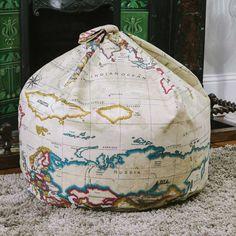 Pins & Ribbons - Home Furnishings - Bean Bags - World Map Atlas Bean Bags  William's room ideas