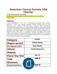 American Cancer Society USA Charity