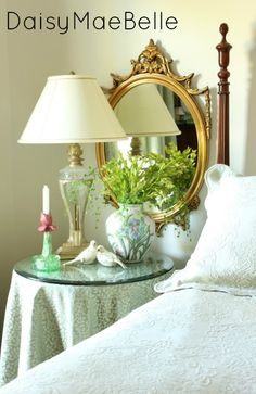 Guest Bedroom @ DaisyMaeBelle -- glass tabletop, lamp, vignette