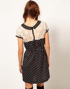Enlarge Influence Polka Dot & Lace Tea Dress
