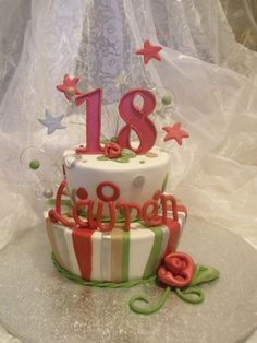 18th birthday cake, its a surprise for the girl from her parents.   the theme for the party is red and silver so the mum wanted these colors...