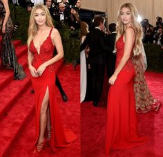 Red Chiffon Deep V Neck Celebrity Dress With Slit Skirt,PD160404