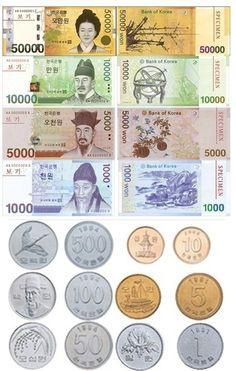 Korean Bills - Welcome to South Korea How To Speak Korean, Learn Korean, Seoul Korea Travel, Korea Map, Learning Money, Art For Kids, Crafts For Kids, Learn Hangul, Daegu South Korea