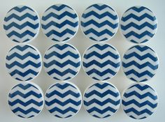 Navy Chevron Knobs, Navy Blue Drawer Knobs, Navy Blue Knobs, Chevron Knobs - Wood Knobs- 1 1/2 Inches -  Choose your quantity, Made to order