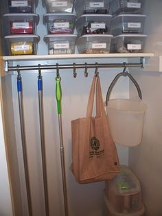 ORGANIZE YOUR UTILITY CLOSET:  How SMART is this??  My favorite suggestion because I never knew what to do with my mops and brooms was to hang them.  I would lean them against the wall and, more often than not, they would hit me in the face when I opened the door.  Hanging them up gives me much better access (maybe I will use them more).phaedrasadventures
