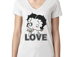 Betty Boop sparkly glitter v neck Tshirt, Sexy Betty Boop Cartoon Character TEE, Hollywood Icon Betty Boop glitter Shirt, ladies women's tee.  check it out