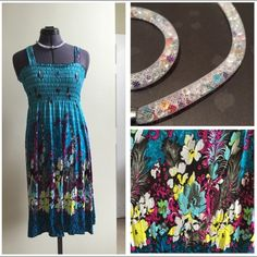 """Blue floral dress 31"""" overall length, sits a bit longer in back.  Bust stretches to 21"""".  Lightweight material 100% polyester.  Flattering fit and length on any body type.  Straps are 1.5"""" wide.  True to size.  Tags didn't come in packaging but new! Dresses Midi"""