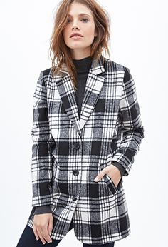 Forever 21 Black WHite Plaid woven coat Medium M Outerwear Women, Outerwear Jackets, White Suspenders, Coats For Women, Clothes For Women, Fur Collar Jacket, Forever 21 Fashion, Fashion Clothes Online, Plaid Coat