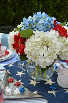 Patriotic table setting, patriotic tablescape, fourth of july, memorial day, labor day Fourth Of July Decor, 4th Of July Celebration, 4th Of July Decorations, 4th Of July Party, Happy Fourth Of July, Birthday Decorations, Pottery Barn, Memorial Day, 4. Juli Party