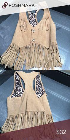 NWOT True Religion Fringe Vest Adorable and fun fringe vest.   Never worn. Leather great condition!!! True Religion Jackets & Coats Vests