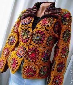 ideas for crochet hooded jacket Crochet Bolero, Crochet Coat, Crochet Cardigan Pattern, Crochet Jacket, Crochet Blouse, Crochet Clothes, Crochet Patterns, Crochet Squares, Crochet Granny