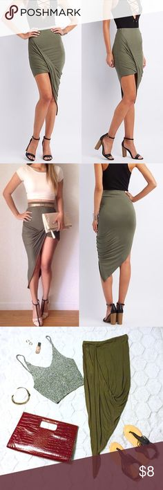 Olive Green Draped Asymmetrical Skirt Draped asymmetrical skirt in an olive green color with an encased elastic waist band. Super soft and stretchy jersey fabric. Cut interior care tag out because it was itchy and visible through fabric when worn. Measurements as follows - 25\