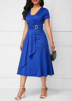 Elegant Women Dress Fashion High Waist Plain Asymmetric Midi Dress OL Casual Short Sleeve Party vestidos Dress Plus Size