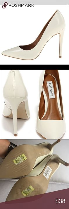 Steve Madden pale ivory or white pumps These were only tried on but never worn outside. Color is something between White and ivory. Right shoe has a small blemish near the heel Steve Madden Shoes Heels