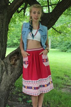 Red Corazon of Frida Khalo  Vintage 1950s 60s Boho by HarlowGirls, $58.00