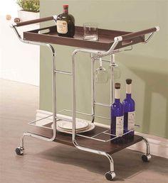 Modern Serving Cart Rolling Casters Removable Top Shelf Bottle Holders Chrome #ServingCart
