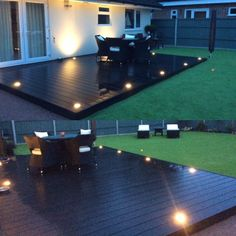 Gorgeous relaxing space with our Composite Decking Gorgeous relaxing space with our Composite Deckin Pallet Patio Decks, Backyard Patio Designs, Backyard Landscaping, Low Deck Designs, Wood Patio, Composite Decking, Backyard Makeover, Modern Deck Lighting, Creative Design
