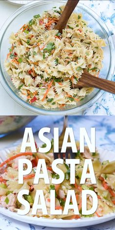 This Asian Pasta Salad has a satisfying crunchy texture and a completely addictive sesame-soy dressing that will have everyone coming back for seconds! Asian Pasta Salads, Summer Pasta Salad, Pasta Salad Italian, Summer Salad Recipes, Pasta Salad Recipes, Summer Salads, Summer Pasta Dishes, Best Pasta Dishes, Vegetarian Recipes