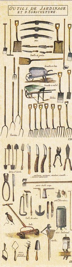 Vintage Illustrations Vieux outils de jardinage / old gardening tools - Martha Stewart discusses antique gardening tools with Ann from Sugarplum Antiques. Old Garden Tools, Farm Tools, Old Tools, Garden Art, Gardening Tools, Garden Design, Herb Garden, Antique Tools, Vintage Tools