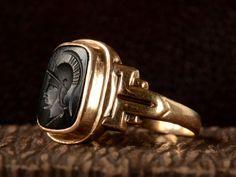 1920s Onyx Intaglio Trojan Ring