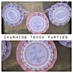 First Communion / Baptism/ Christening rosette bunting by Charming Touch Parties. Pink and lavender.  Personalized and customizable. by CharmingTouchParties on Etsy