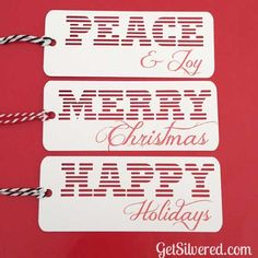 3 Christmas Gift Tags - free Silhouette cut file! SO AWESOME.