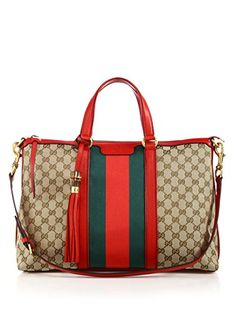 Gucci Rania Medium Stripe Tote Hibiscus Red Green Beige Handbag Bag