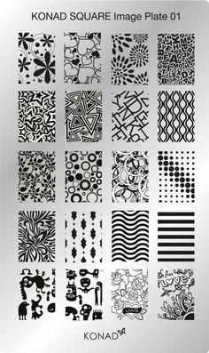 Original KONAD XL Square Stamping Schablone Plate 01 für Nailart Nageldesign | Beauty & Gesundheit, Maniküre & Pediküre, Nail-Art-Zubehör | eBay!