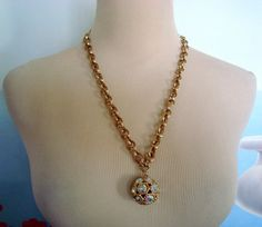 Vintage Sara Coventry Aurora Crystal Ball Goldtone Necklace with Separate Extender