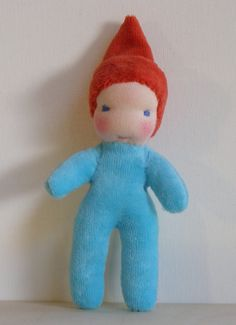 Waldorf mini doll or pocket doll 5 turquoise by StarVillageToys, $23.00